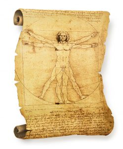 Leonardo's Vitruvian Man old parchment